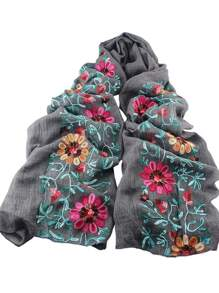 Darkgray Flower Printed Boho Style Wide Cotton Scarf For Ladies