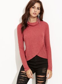 Red Cowl Neck Crossover Ribbed T-shirt