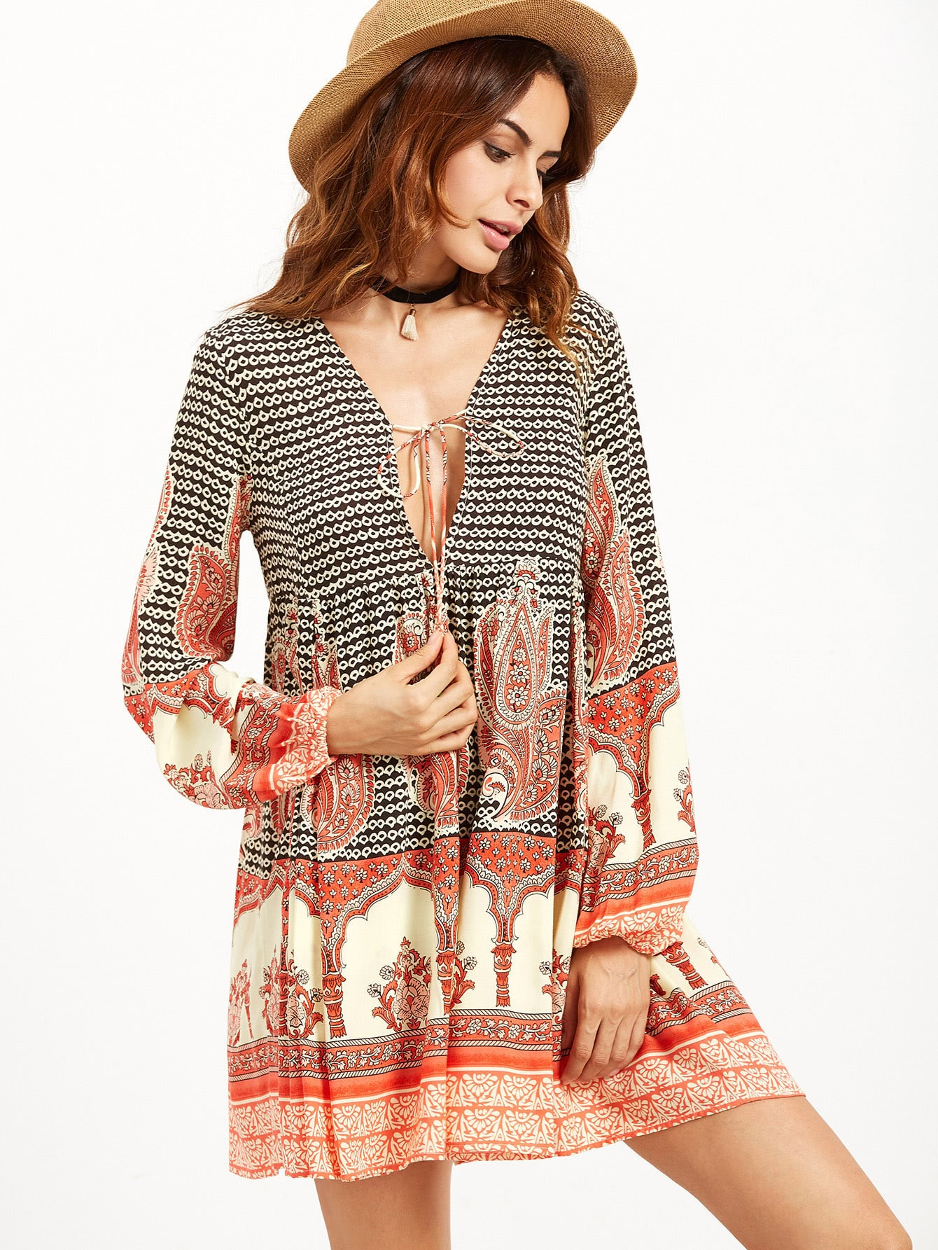 Фото Tribal Print Deep V Neck Lace Up Dress. Купить с доставкой