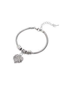 Silver Rhinestone Encrusted Heart Charm Bangle