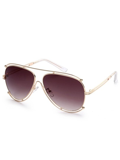 Cutout Aviator Sunglasses With Brow Bar