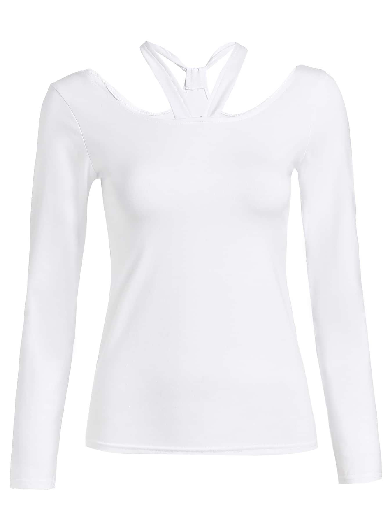White Cut Out Long Sleeve T Shirt Shein Sheinside
