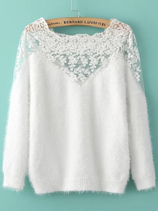 Lace Insert Boat Neck Mohair Sweater