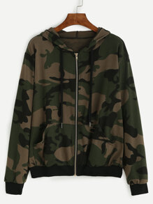 Hooded Camo Print Zipped Jacket