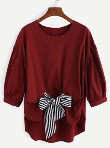 Dropped Shoulder Dip Hem Blouse With Contrast Bow
