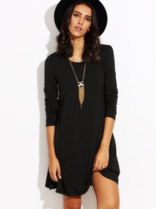 Black Long Sleeve T-shirt Dress