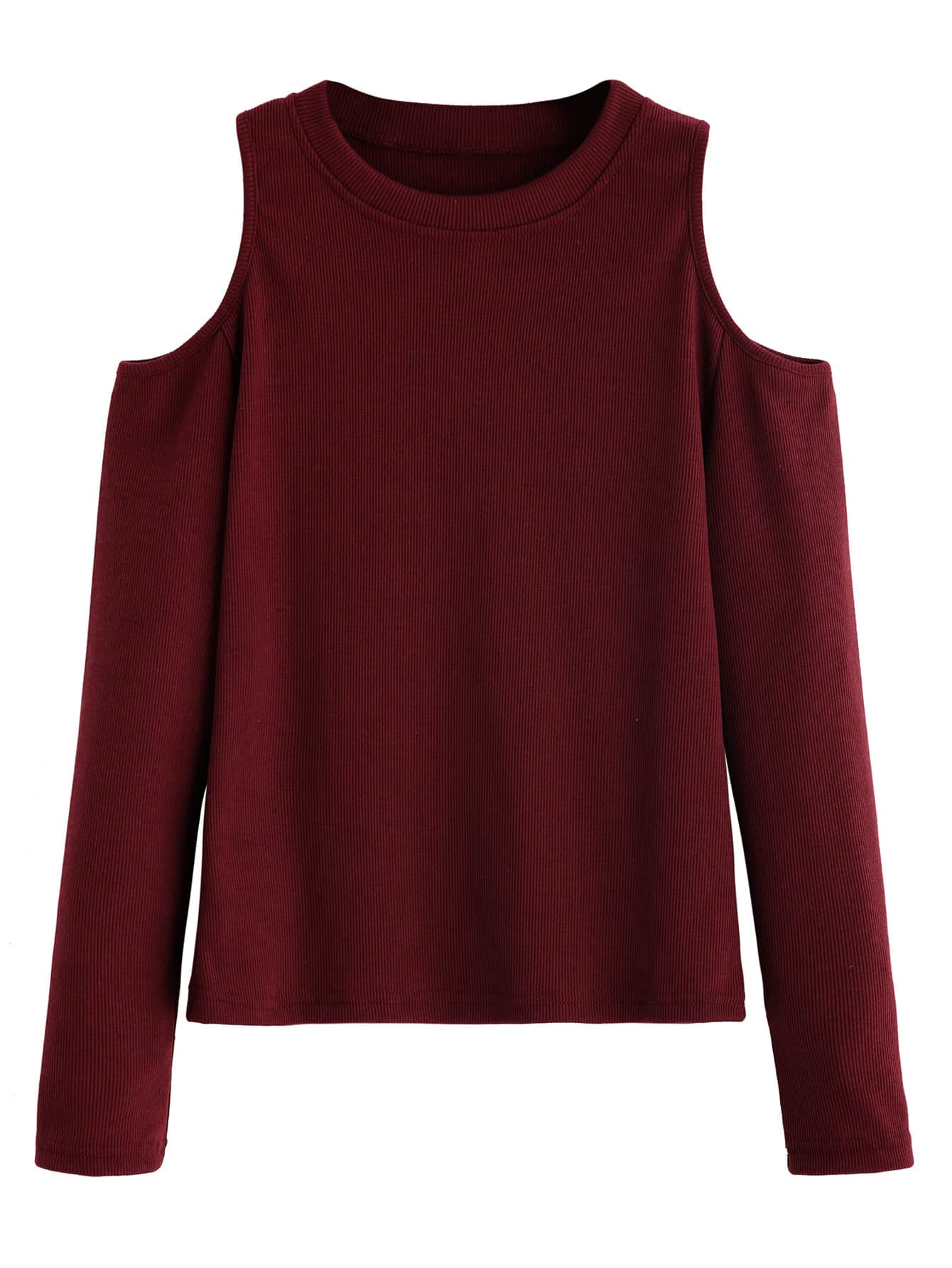 Open Shoulder Ribbed Knit T-shirt tee160825122