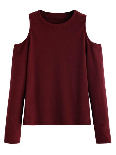 Open Shoulder Ribbed Knit T-shirt