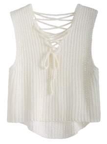 White Lace Up High Low Knit Vest