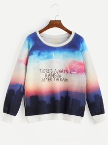Multicolor Graphic Print Quilted Sweatshirt