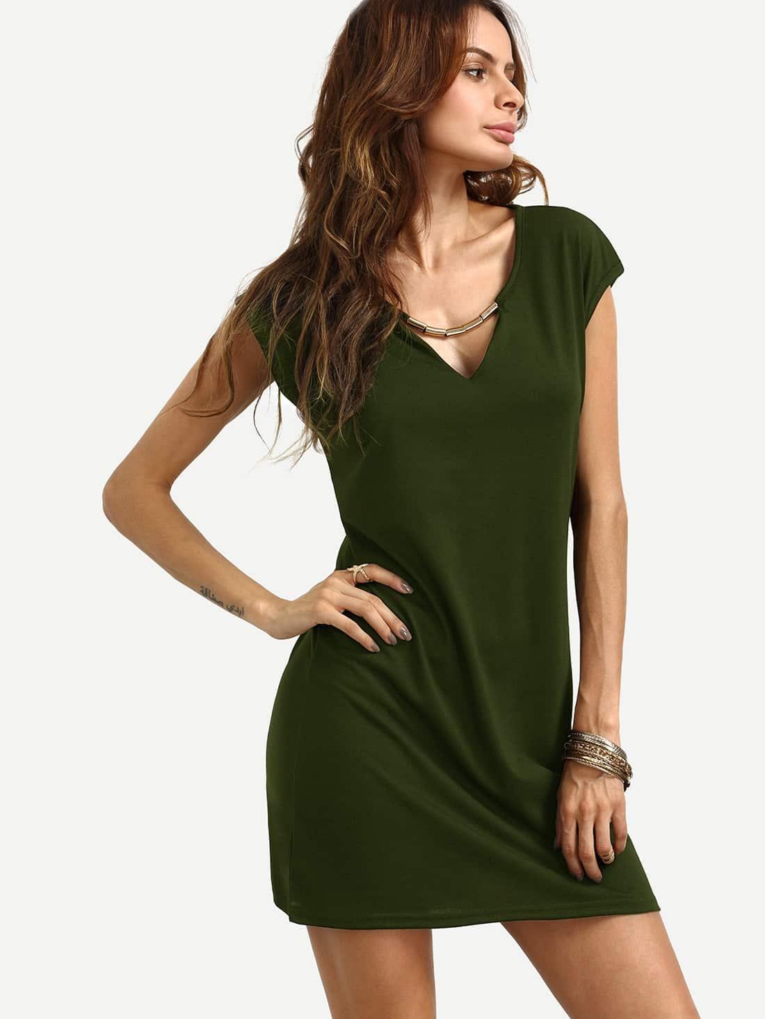 robe droite col v manche courte vert kaki french shein sheinside. Black Bedroom Furniture Sets. Home Design Ideas