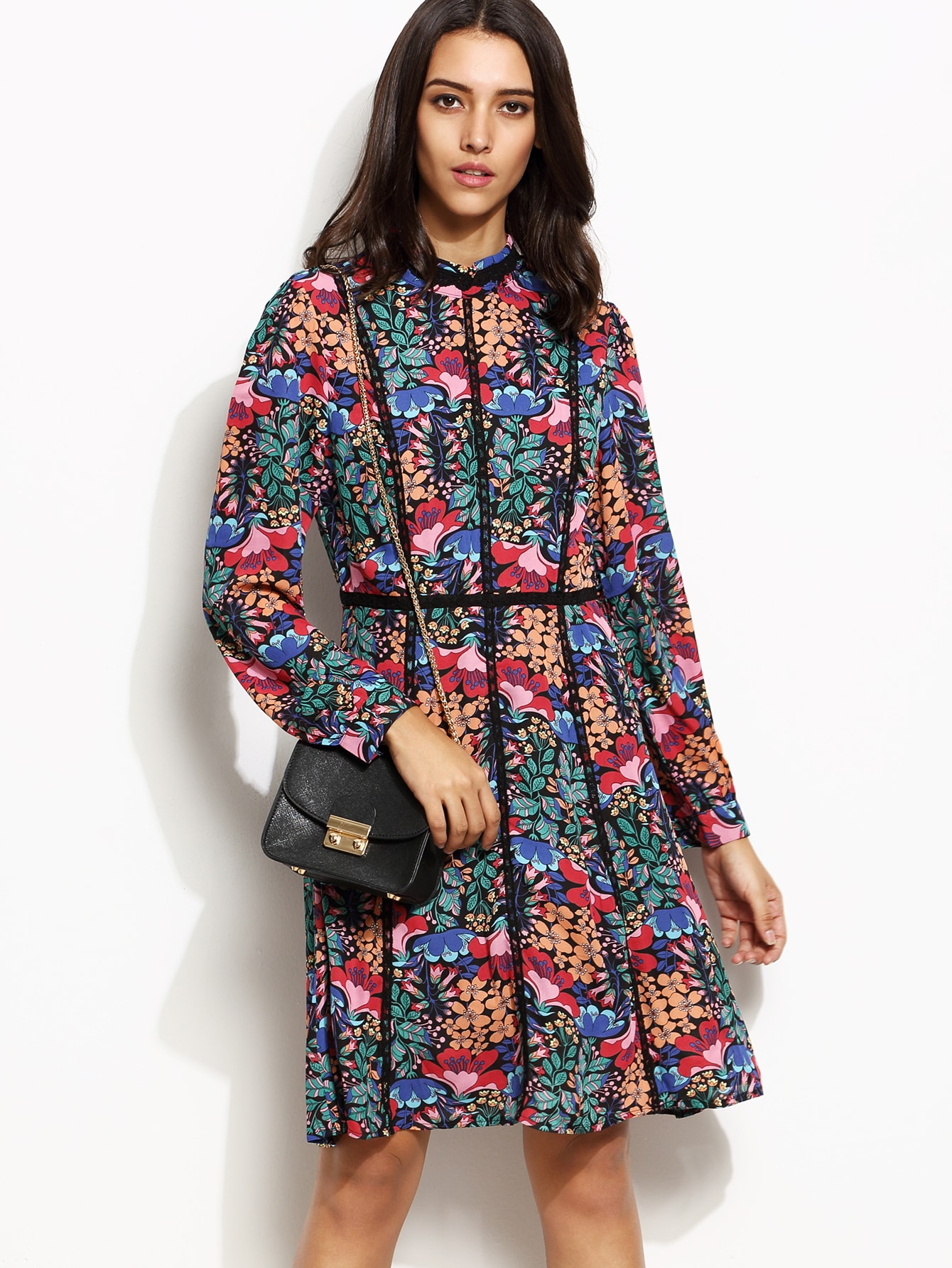 Multicolor Floral Print Lace Trim Long Sleeve DressMulticolor Floral Print Lace Trim Long Sleeve Dress<br><br>color: Multicolor<br>size: S
