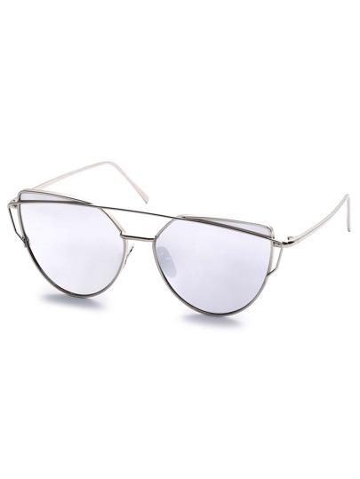 Gafas del sol de aviador con montura metálica - blanco