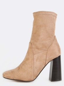 Faux Suede Flared Stacked Heel Boots NUDE