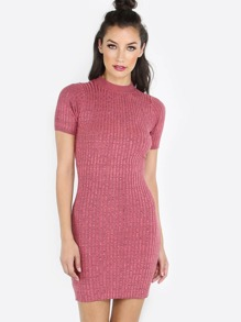 Knitted Mock Neck Midi Dress MAUVE