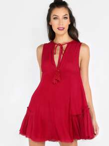 Tassel Drop Ruffled Dress RED
