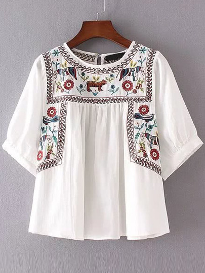 Embroidery Elbow Sleeve Keyhole Blouse