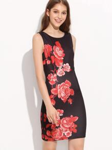 Black Sleeveless Vintage Print Dress