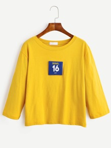 Yellow Number Embroidered Patch T-shirt