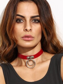 Red Faux Leather Double O Ring Choker Necklace