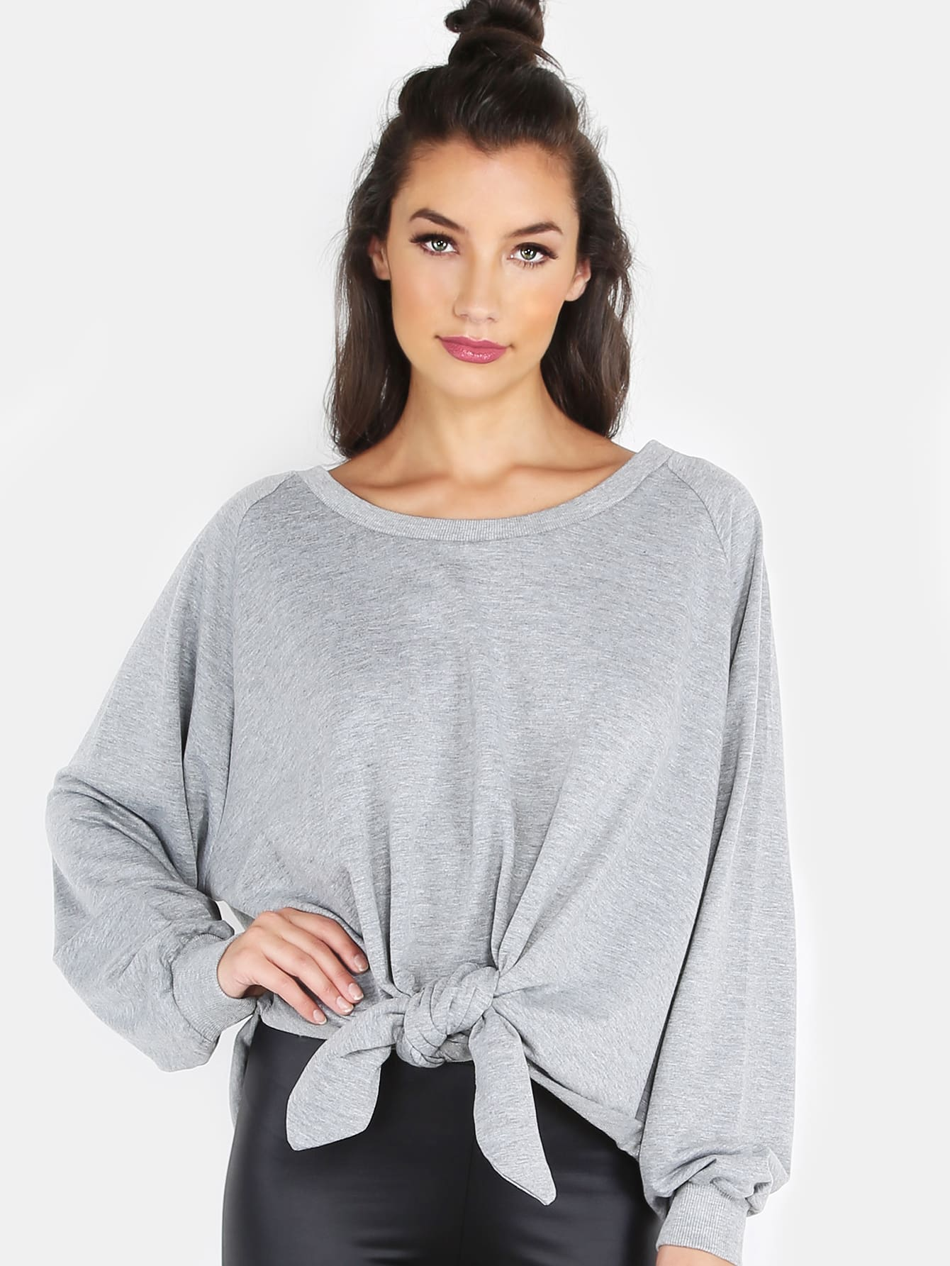 Knotted Crew Neck Sweater HEATHER GREY pink crew neck bat sleeves sweater