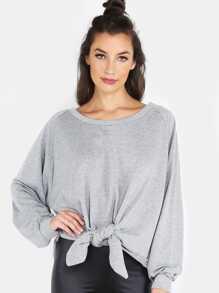 Sweat-shirt lâche manche raglan avec nœud - gris