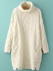 Белое модное платье-свитер с разрезом. воротник-хомут
