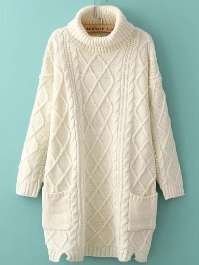 White Turtleneck Side Slit Pocket Cable Knit Sweater Dress