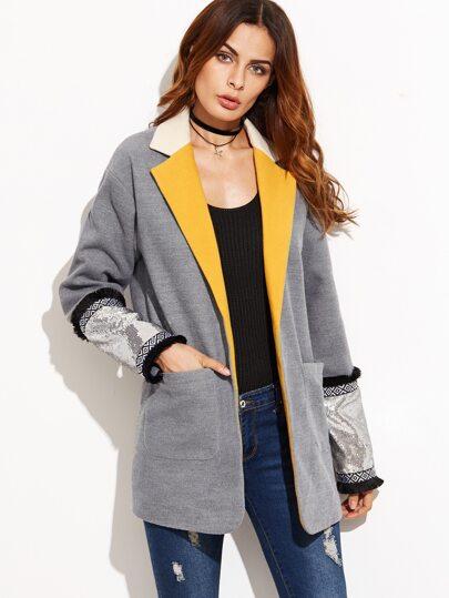 Grey Contrast Notch Collar Boyfriend Blazer With Sequin Cuff