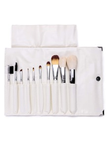 10PCS White Professional Makeup Brush Set With Bag