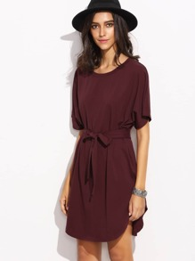 Burgundy Self Tie Curved Hem Dolman Sleeve Dress