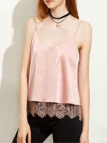 Pink Lace Trim Backless Cami Top