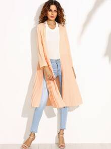 Pink Pleated Split Long Outerwear