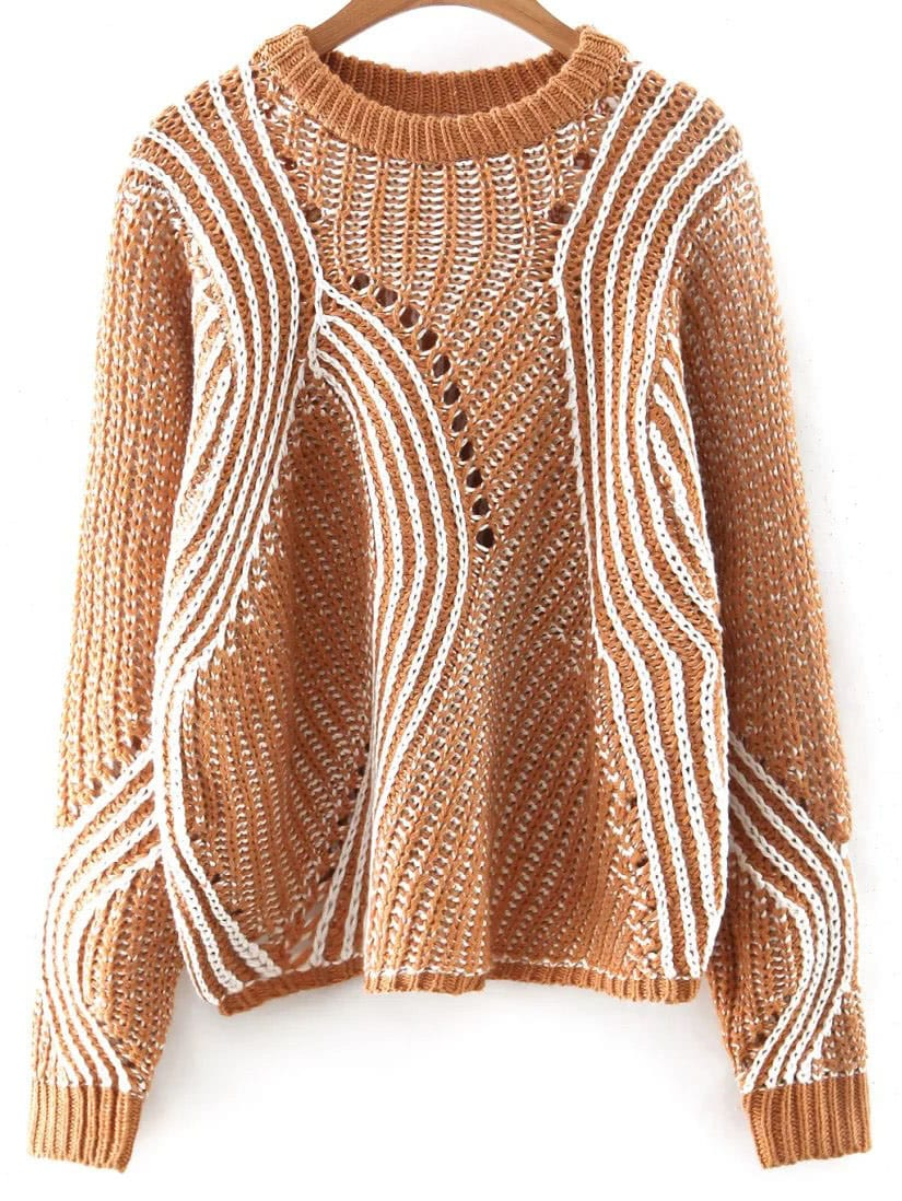 Khaki Mixed Knit Hollow Out Loose Sweater sweater160817243