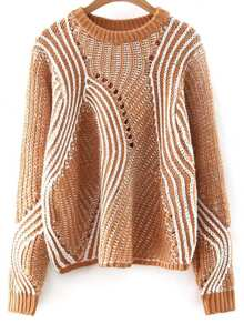 Khaki Mixed Knit Hollow Out Loose Sweater