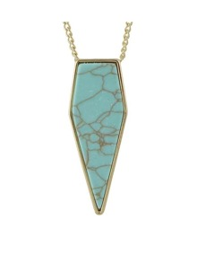 Gold Plated Long Turquoise Necklace