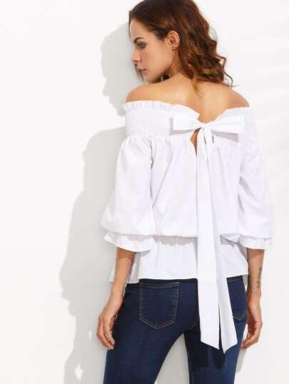 schulterfreie Bluse mit Schleife - weiß