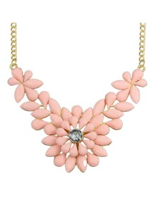 Pink Gemstone Flower Shape Necklace