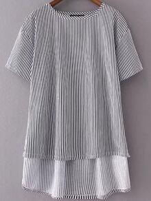 Striped Letter Embroidery Back Dip Hem Blouse