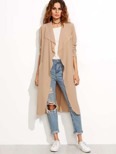 Camel Draped Collar Wrap Coat