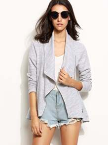 Heather Grey Shawl Collar Asymmetric Zip Jacket