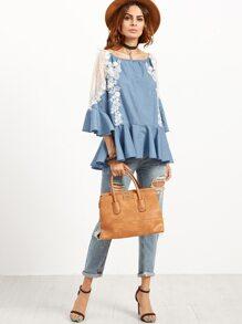 Blue Crochet Applique Mesh Insert Bell Sleeve Peplum Top