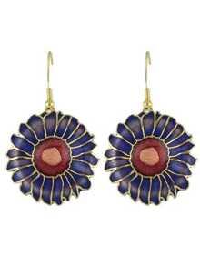 Blue Enamel Big Flower Earrings