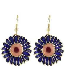Blue Enamel Big Flower Drop Earrings