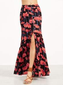 Multicolor Flower Print Slit Front Ruffle Hem Maxi Skirt