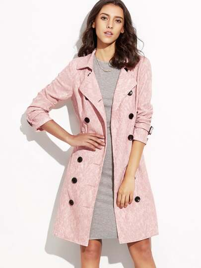 Pink Double Breasted Lace Trench Coat