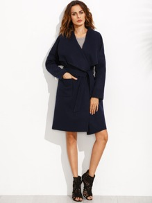 Navy Drop Shoulder Drape Collar Wrap Coat