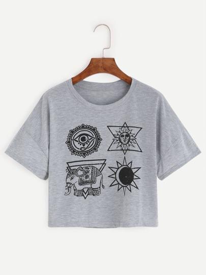 Grey Graphic Print Crop T-shirt