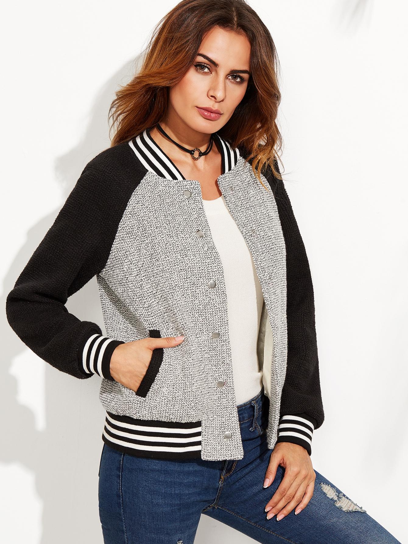 Grey Contrast Raglan Sleeve Striped Trim Tweed Bomber Jacket jacket160817702