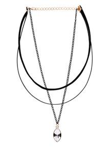Three-Layer Bead Pendant Choker Necklace